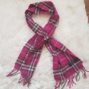 Burberry Accessories - Authentic BURBERRY 100% Cashmere Pink Plaid Scarf